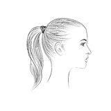 Pretty girl profile. Young woman face sketching portrait Royalty Free Stock Photos