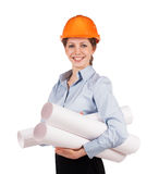 Girl in a protective helmet with drawings Stock Photography
