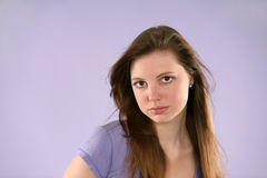 Pretty girl in purple Royalty Free Stock Photo