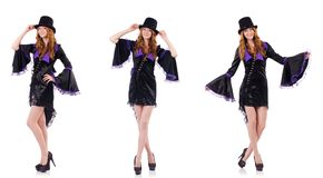 Pretty girl in purple carnival clothing and hat isolated on whit Royalty Free Stock Image