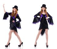 Pretty girl in purple carnival clothing and hat isolated on whit Royalty Free Stock Photo