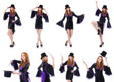Pretty girl in purple carnival clothing and hat isolated on whit Royalty Free Stock Photography