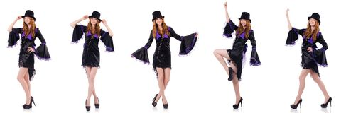 Pretty girl in purple carnival clothing and hat isolated on whit Royalty Free Stock Photos