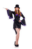 Pretty girl in purple carnival clothing and hat Royalty Free Stock Photography