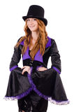 Pretty girl in purple carnival clothing and hat Royalty Free Stock Image