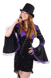 Pretty girl in purple carnival clothing and hat Stock Photography