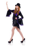 Pretty girl in purple carnival clothing and hat Stock Images