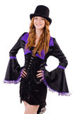 Pretty girl in purple carnival clothing and hat Royalty Free Stock Photo
