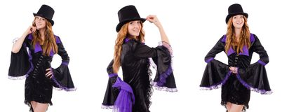 Pretty girl in purple carnival clothing and hat isolated on whit Stock Photo