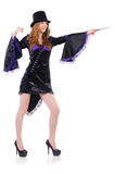 Pretty girl in purple carnival clothing and hat Royalty Free Stock Images