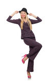 Pretty girl in purple retro suit isolated on white Stock Image
