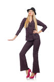 The pretty girl in purple retro suit isolated on Royalty Free Stock Images