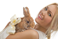Pretty girl with a rabbit Royalty Free Stock Photos