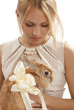 Pretty girl with a rabbit Royalty Free Stock Image