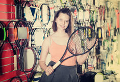 Pretty girl with racket Stock Photography