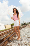 Pretty Girl by Railroad Royalty Free Stock Images