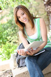 Pretty Girl Reading at School Stock Image