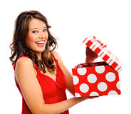 Pretty girl receives a present Stock Photo