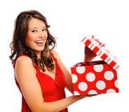 Pretty girl receives a present Stock Photo