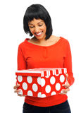Pretty girl receives present Royalty Free Stock Image