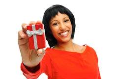 Pretty girl receives present Royalty Free Stock Images