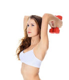 Pretty girl with red barbells. Posing against white background Royalty Free Stock Photos