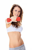 Pretty girl with red barbells Stock Image