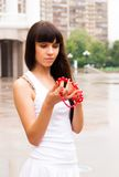 Pretty girl with red beads Royalty Free Stock Image