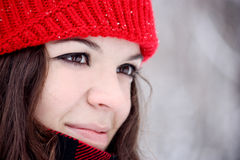 Pretty girl with red cap Stock Photography