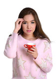 Pretty girl with red coffee cup. Royalty Free Stock Images