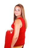 Pretty girl in red dress. Royalty Free Stock Photos