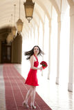 Pretty Girl in a red Dress Royalty Free Stock Photos