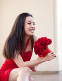 Pretty Girl in a red Dress Royalty Free Stock Images