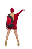 The pretty girl in red dress and backpack isolated on white Royalty Free Stock Photography