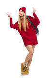 Pretty girl in red dress and backpack isolated on white Stock Photos