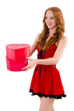Pretty girl in red dress  with heart  caskets Stock Photography
