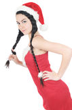 Pretty girl in red dress hold plait Stock Images