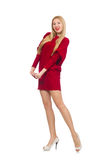 The pretty girl in red dress isolated on white Royalty Free Stock Photos
