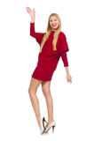 Pretty girl in red dress isolated on white Royalty Free Stock Photo