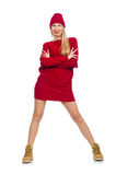 Pretty girl in red dress isolated on white Royalty Free Stock Images