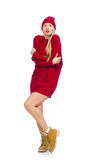 The pretty girl in red dress isolated on white Royalty Free Stock Photo