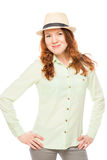 Pretty girl with red hair wearing a hat Royalty Free Stock Image