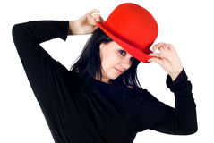 Pretty girl with red hat Royalty Free Stock Photos