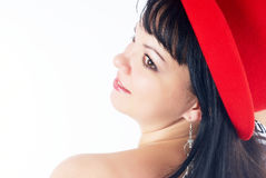 Pretty girl with red hat Royalty Free Stock Photo