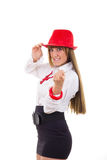Pretty girl with the red hat calling you to come Stock Photo