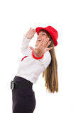 Pretty girl with the red hat showing stop with her hand Royalty Free Stock Images