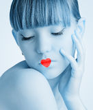 Pretty girl with red heart Royalty Free Stock Image