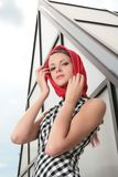 Pretty girl in red kerchief Royalty Free Stock Photos