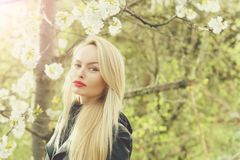 Pretty girl with red lips and blonde hair in blossom royalty free stock photos