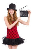 Pretty girl in red polka dot dress with movie board Royalty Free Stock Photos